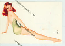"VARGA SEXY REDHEAD IN GREEN BATHING SUIT- RISQUE-4""X6""(#25*)"