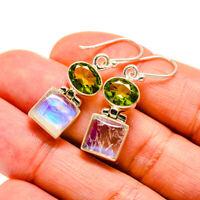"""Rainbow Moonstone, Peridot 925 Sterling Silver Earrings 1 1/2"""" Jewelry E413280F"""
