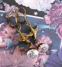 Vintage Art Nouveau Style Dove Bird Crystal Drop Earrings Ornate Artisan Dainty
