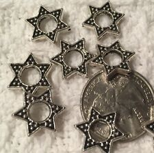 Charms-Silvertone JEWISH--HEBREW-HANNUKKAH STAR of David Bead FRAME-x 25