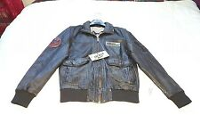BNWT Men's Trapper Flight Bomber Slim Fit Leather Jacket UK Large