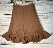 NINE WEST 100% Linen Skirt 4 Small Flare Ruffle Hem Lace Pieced Seams Midi Brown