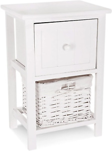 LIVIVO White 'Shabby Chic' Style Wooden Bedside Cabinet Ready Assembled...