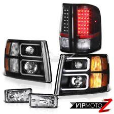 07-13 Chevy Silverado 1500 Black Headlights Crystal Clear Fog Lights Taillights