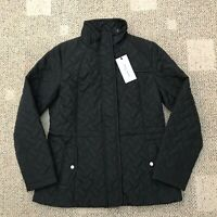 Cole Haan Womens Full Zip Quilted Barn Jacket Black Size Small S