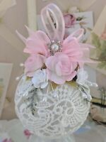 Lovely Shabby Cottage Victorian Chic Lace Pink Roses Handmade Christmas Ornament