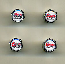 Coors Light 4 Chrome Plated Brass Tire Valve Caps Car or Bike Golf Carts Coors