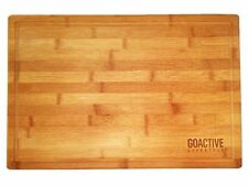 Bamboo XL Cutting Board Large End Grooves Chopping Wood Kitchen Butcher Block