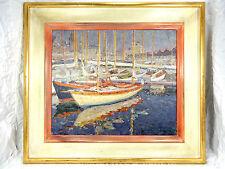 """Schönes Ölgemälde J . FREIXAS CORTÉS """" Balandros """" oil on canvas 63 cm  x 56 cm"""