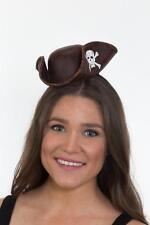 Womens Mini Tricorn Pirate Hat Brown Distressed Leather Look Headband Costume