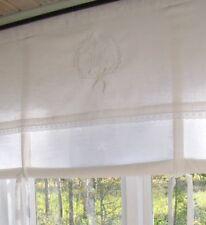 LillaBelle AMALIE WEISS Raff Gardine Rollo 140 X 100 Monogramm Landhaus Shabby