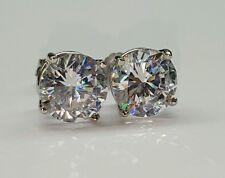 14k white gold 8 mm cubic zirconia push back stud earrings men,women, children
