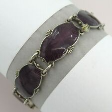 Vtg Norway Norwegian Signed Sterling Silver Purple Guilloche Enamel Bracelet