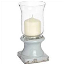 Large Pale Duck Egg Blue Vintage Ceramic Hurricane Lamp