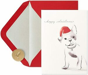 Papyrus Christmas Card- Puppy Dog French Bulldog Santa Hat, Pen & Ink Watercolor