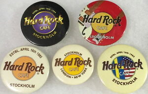 """Hard Rock Cafe STOCKHOLM 1990s 5 BUTTON PIN Set with """"Save The Planet"""" HRC LOGOS"""