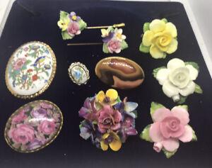 5 Vintage Ceramic Brooches Two Ceramic Lapel Pins