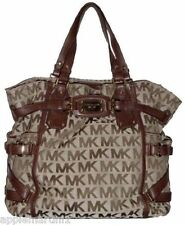 *NWT*MICHAEL KORS SIGNATURE MONOGRAM GANSEVOORT BEIGE/MOCHA BROWN TOTE BAG $498