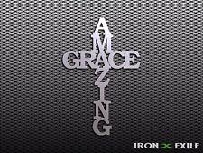 AMAZING GRACE -- Metal Cross Wall Art Home Decor Religion Christ God Church Sign