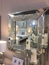 Sparkling Silver Diamond Glitz Square Wall Mirror Crushed Crystal Frame 60cm