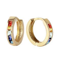 1.3 CTW 14K Solid Gold Hoop Earrings Multicolor Sapphire