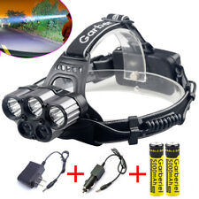 Tactical Headlight 5x T6 80000LM Rechargeable T6 LED Headlamp+Battery+Charger US