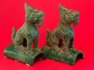 Antique Chinese Guardian Fu Lion Ceramic Roof Tiles with Jian Ding Export Seal