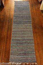 Fantastic BLUE Antique Swedish Rag Rug ( 29 x 110 inches)
