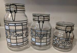 1990 Glass Jars Cannisters With locking Lid Flour Sugar Coffee