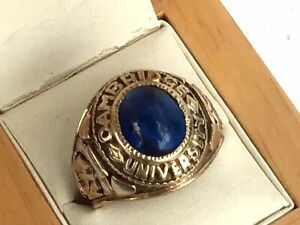 Heavy Cambridge University 9ct Gold and Sapphire ( Re-created ) Ring London 1993