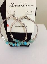 $35 Kenneth Cole Turquoise Stone Chip Gypsy Hoop Earrings 23F