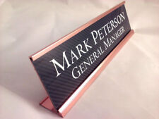"Desk name plate carbon fiber look gold color aluminum holder 2""x8"" personalized"