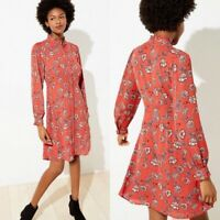 LOFT Women's Floral Ruffle Trim Shirtdress Flamenco Red Size 8 New $90