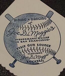 VINTAGE JOE DIMAGGIO RESTAURANT BAR COCKTAIL NAPKIN NOS MT 1950s OLD NY YANKEES