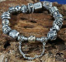 """Pandora 14k Yellow Gold & Sterling Silver (.925) 17-Charm Bracelet 6.5"""""""