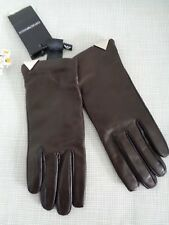 BNWT Emporio Armani Brown Lamb Leather Wool Lined Touch Gloves size M