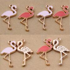 Pink/ Enamel Charm Flamingo Bird Pendant Bead Jewelry Making Small Pendant V1108