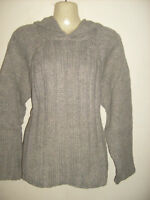Ladies/girls soft touch chunky GREY jumper ANIMAL with hoodie Size  12 14,16