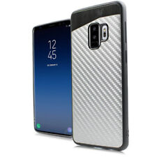For Samsung Galaxy S9 Silver Carbon Fiber Hybrid Magnetic Back Plate Case Cover