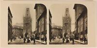 Repubblica Ceca Praga Centre Ville c1905 Foto Stereo Vintage