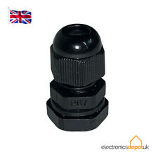 (20 PACK) CGPG7B - 3.5-6mm CABLE GLAND WITH NUT IP68 BLACK NYLON PG7