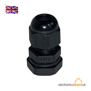 (4 PACK) CGPG7B - 3.5-6mm CABLE GLAND WITH NUT IP68 BLACK NYLON PG7