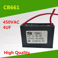 Free Shipping 4 UF 450V 50/60Hz 450VAC 4UF CBB61 Fan Motor Capacitor Lead Wire