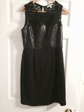 Piperlime Vegan Leather And Lace Dress Black Sz. M New