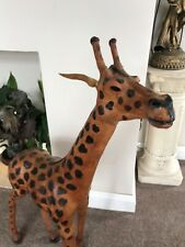 More details for vintage tall giraffe statue leather wrapped large figure safari decor