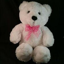 "Aurora White Teddy Bear 16"" Plush Stuffed Animal Toy with Pink Neck Ribbon"