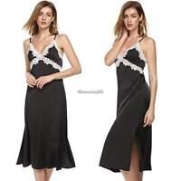 Ekouaer Damen Spitze Nachtwäsche Satin Unterwäsche Nachthemd Langes Kleid Sexy