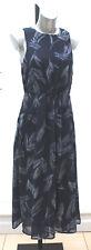 Ladies M&S Per Una Sizes 8 - 22  Navy Feather Print Floaty Chiffon Midi Dress