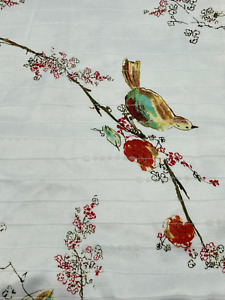 """Lovely Vintage Silk/Satin Oriental Painted Birds & Blossoms Table Runner 86x13"""""""