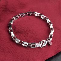 Men Women 925 Silver Plated Bracelet Chain Charm Cuff Bangle Fashion Jewelry